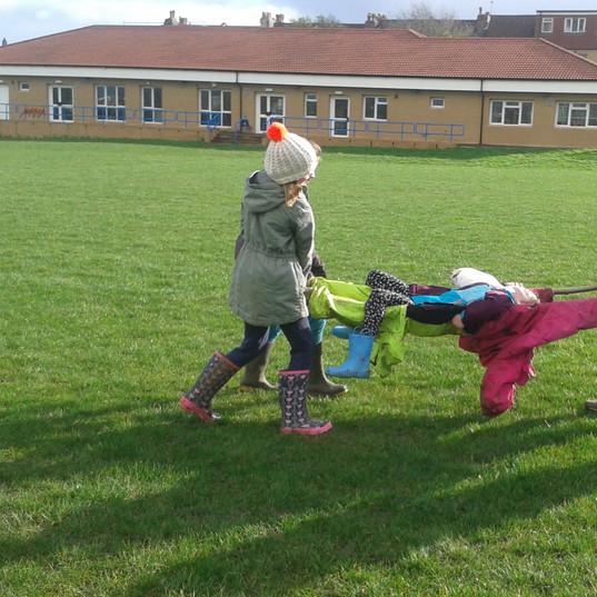 Survival skills stretcher making