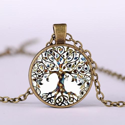 Tree Of Life Statement Necklace Art Photo Glass Cabochon Pendant