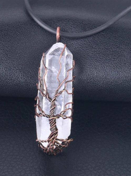 Natural Crystal Pillar Big Pendants Antique Copper Wire Wrapped Tree of Life Qua