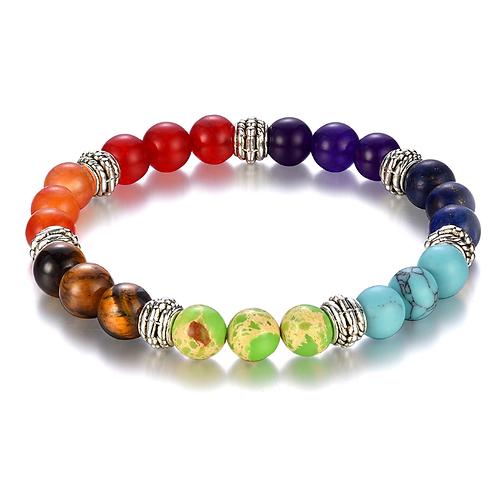 100% all Natural Stone Beads 7 Chakra Bracelet