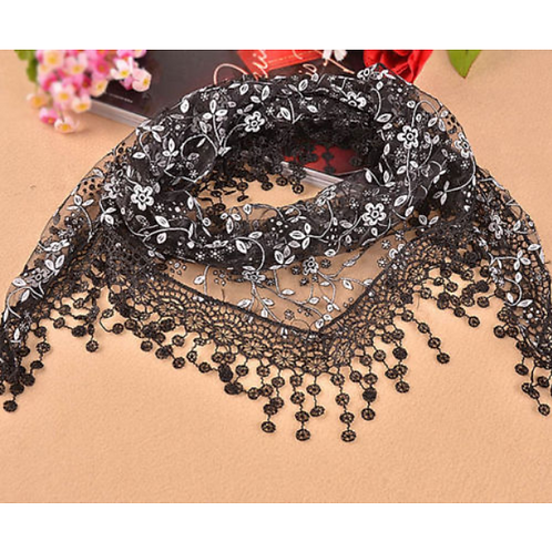 Triangle Wrap Lace Sheer Floral Print Scarf