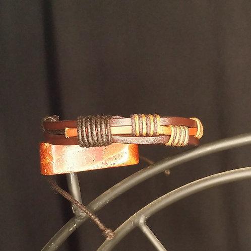 Adjustable Multi Band Leather Bracelet