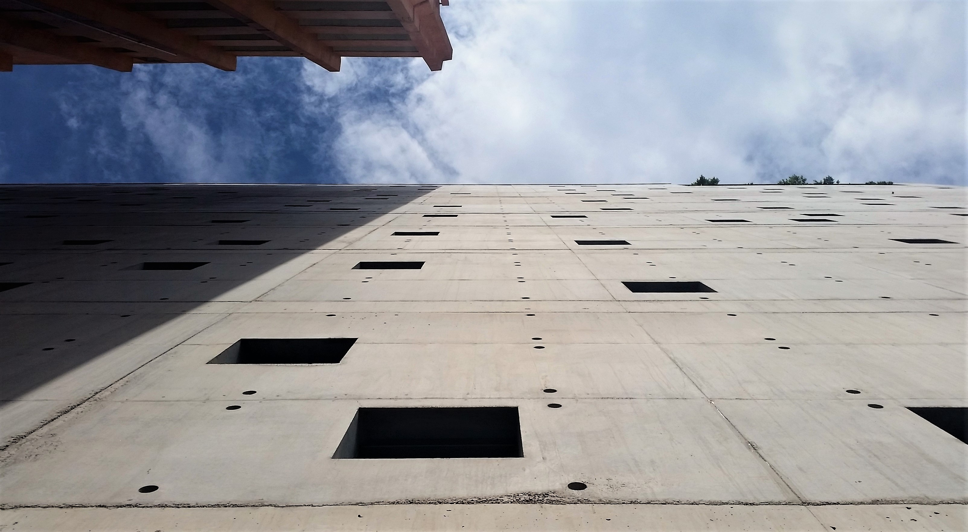 Off-form concrete facade