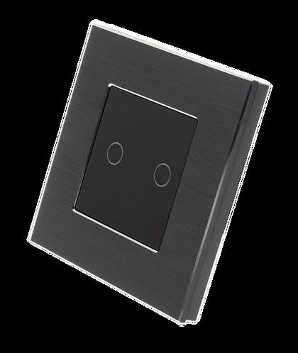 2 Gang Brushed Aluminium Smart Switch