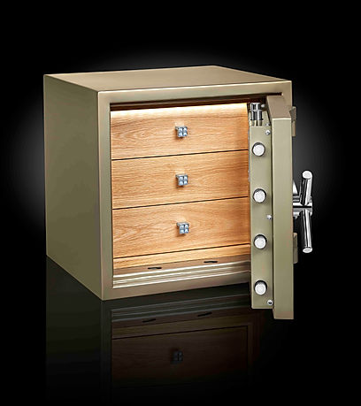 green safe with interior drawers