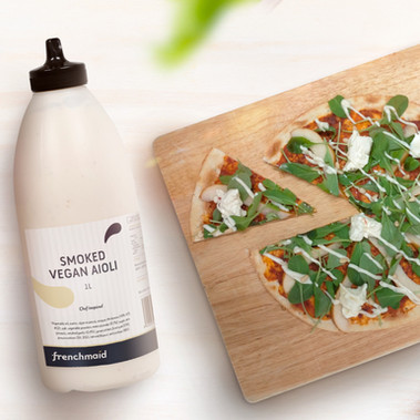 Rocket and Pear Pizza with Smoked Vegan Aioli