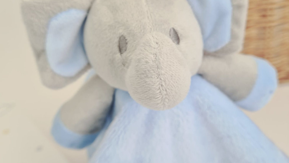 Personalised Baby Comforter. Blue Embroidered Elephant Comforter for Babies.