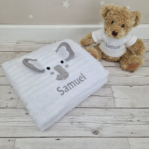 Personalised 3D Elephant Blanket & Crumble Bear