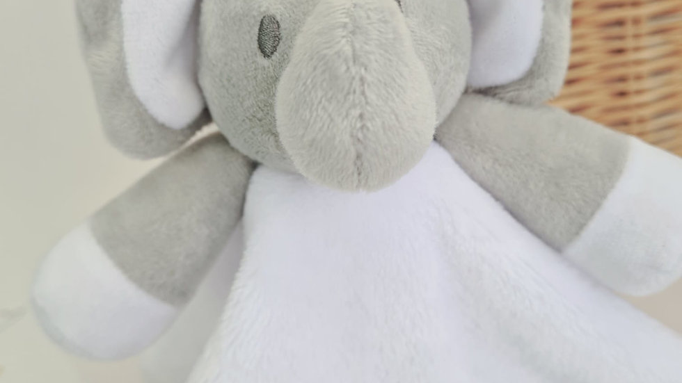 Personalised Baby Comforter. White Embroidered Elephant Comforter for Babies.