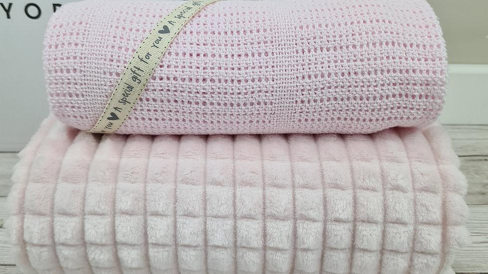 Jacquard Fleece & Cellular Blanket Set Pink