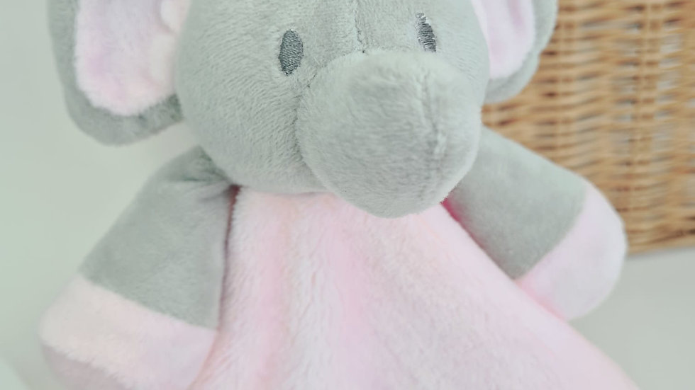 Personalised Baby Comforter. Pink Embroidered Elephant Comforter for Babies.