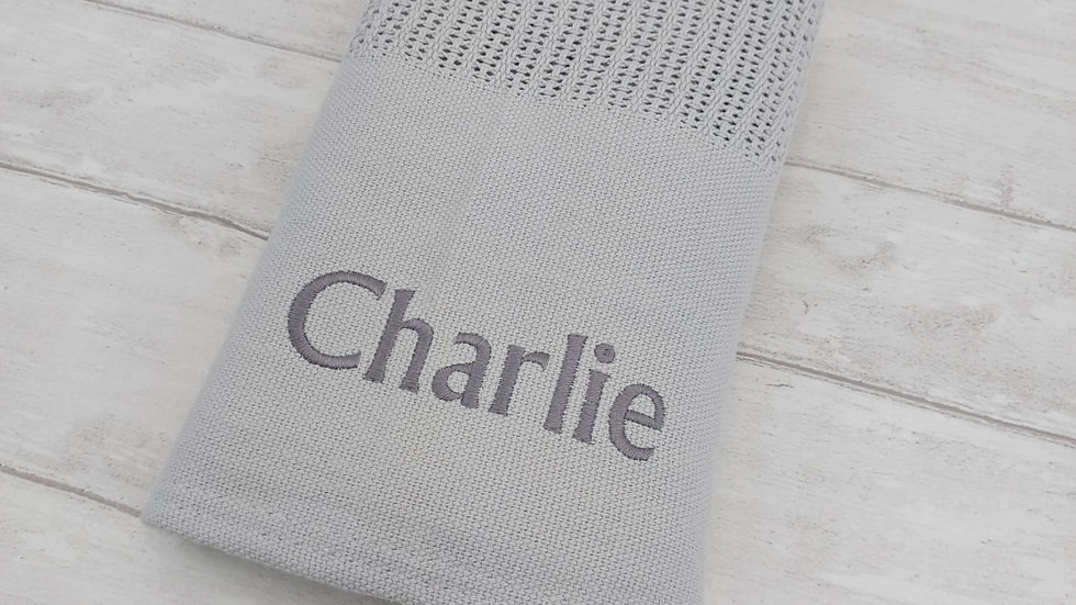 Personalised Grey Cellular Blanket. Newborn Blanket. Personalised Blanket