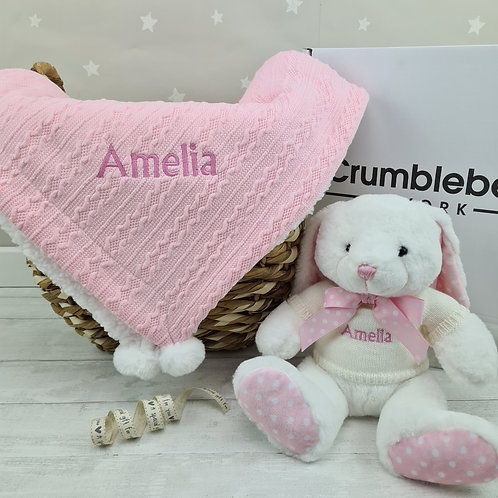 Personalised Blanket & Crumble Bear or Bunny - Pink
