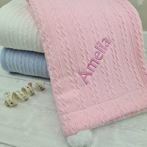 Personalised Knitted Blanket (Pink)