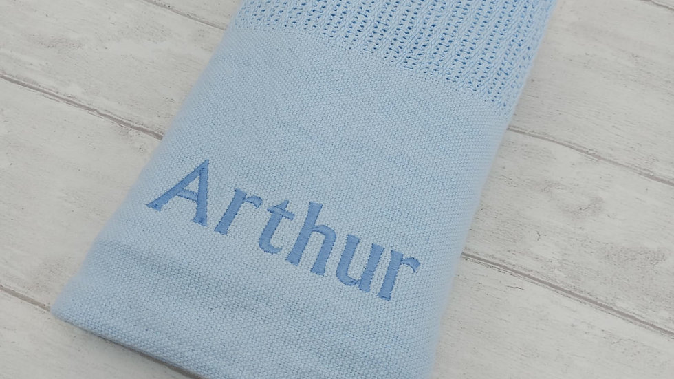 Personalised Blue Cellular Blanket. Newborn Blanket. Personalised Baby Blanket