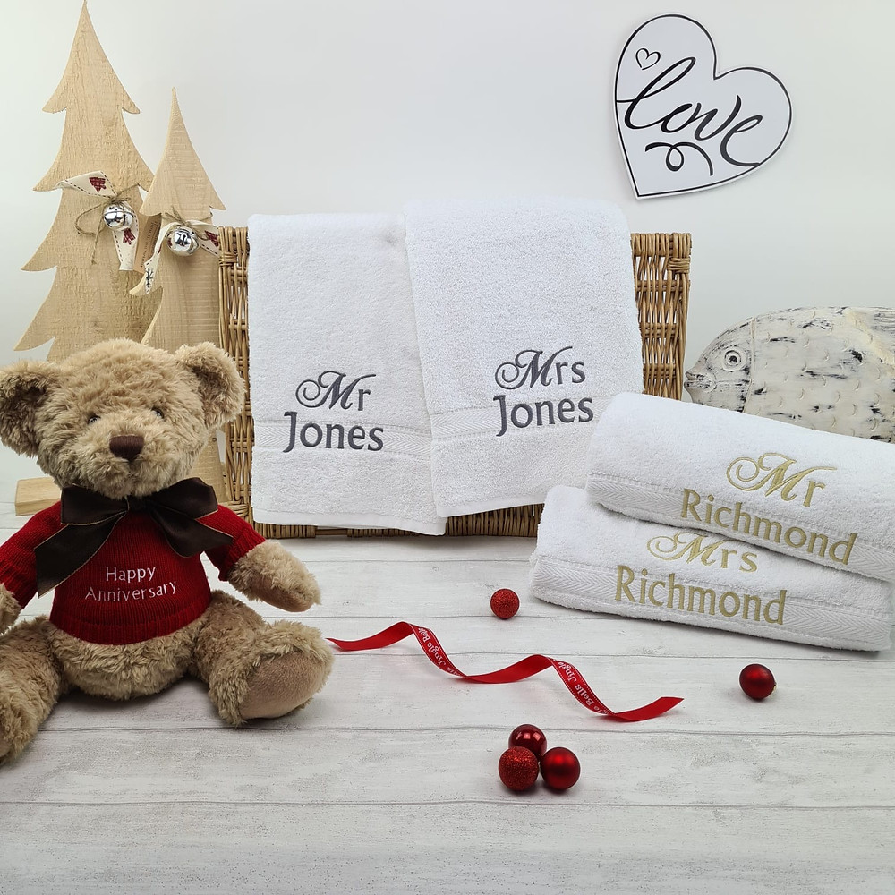 Personalised his and hers towel set