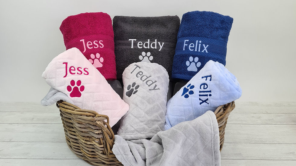 Personalised Pet Blanket & Towel Set. Luxurious Gift for Pets