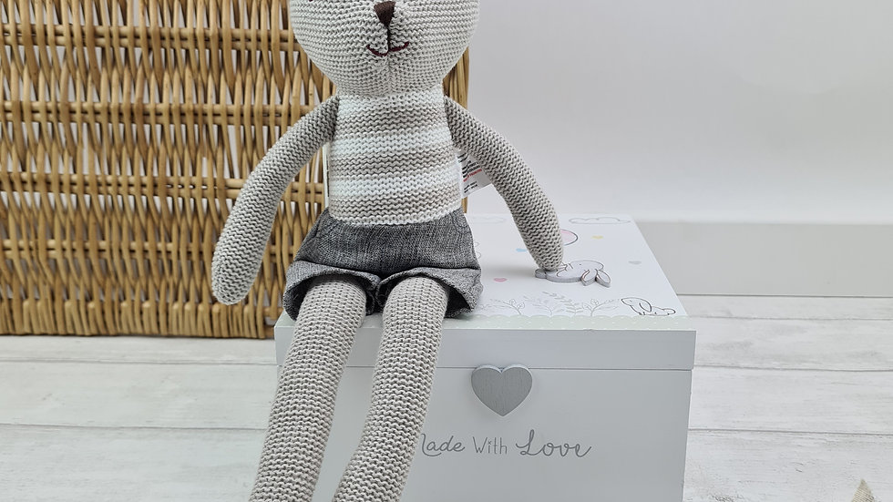Knitted Taupe Bunny Soft Toy