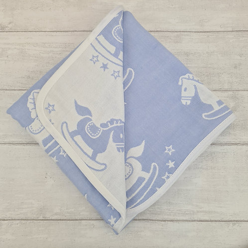 Reversible Cotton Blanket - Blue