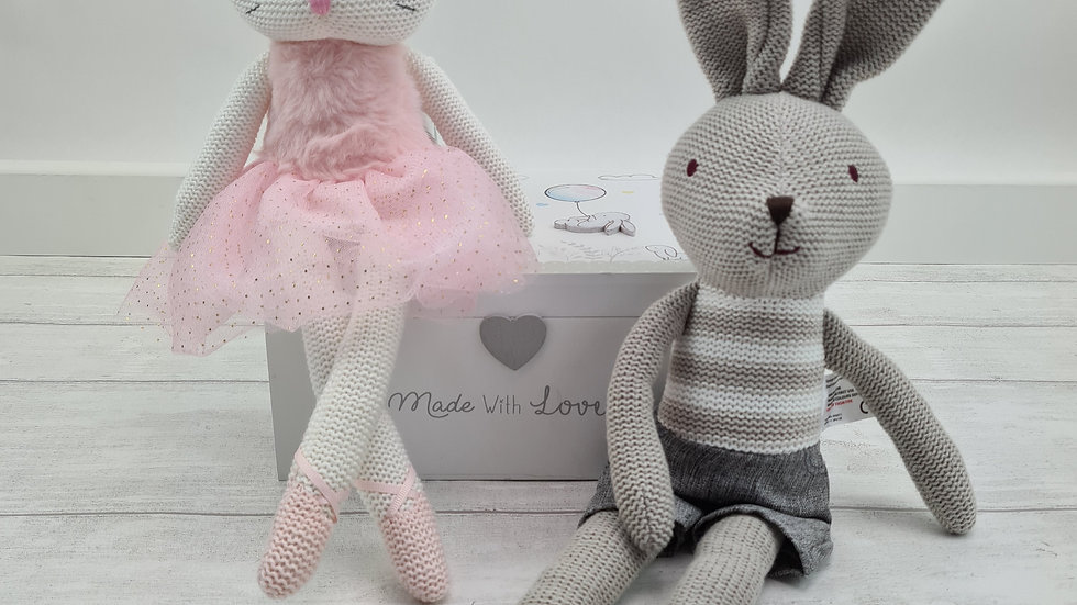 Knitted Traditional Soft Toy & Wooden Keepsake Box