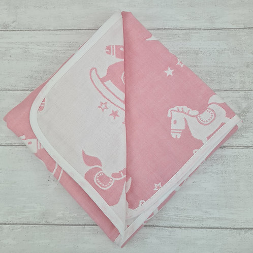 Reversible Cotton Blanket - Pink
