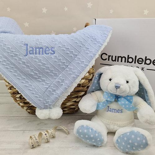 Personalised Blanket & Crumble Bunny - Blue