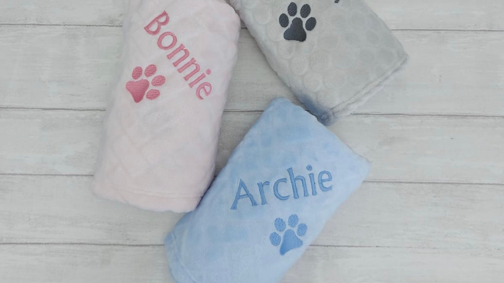 Personalised Pet Blanket. Fleece Blanket. Pet Bed Blanket - Grey, Pink & Blue