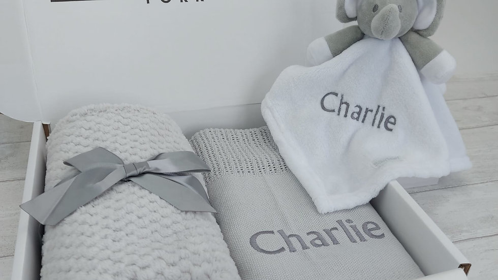 Personalised Baby Gift Set in Grey. Blanket & Comforter Set ideal for New Baby