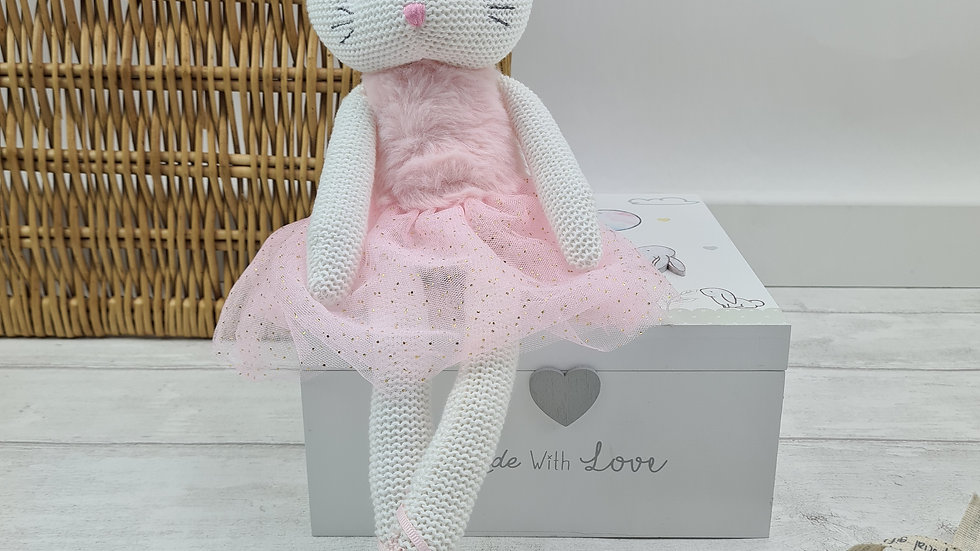 Pink Cat Knitted Toy