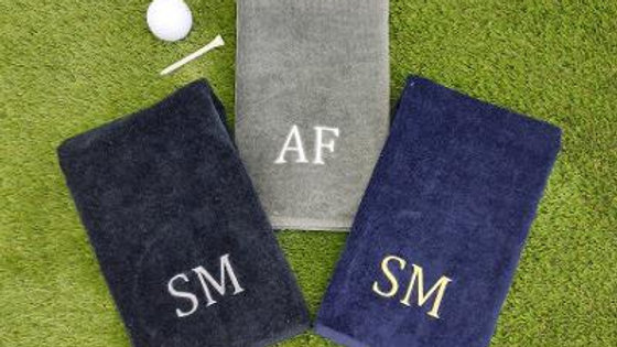 Personalised Golf Towel. Tri Fold Golf Towel With Carabiner Clip. Golf Gift