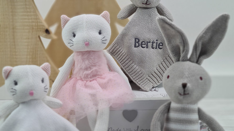 Knitted Soft Toy & Comforter with Wooden Keepsake Box