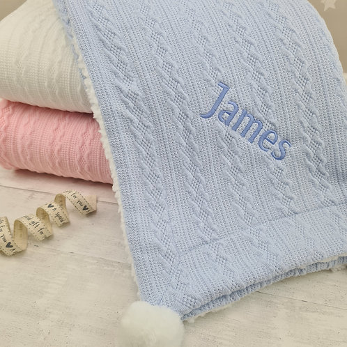 Personalised Knitted Blanket (Blue)