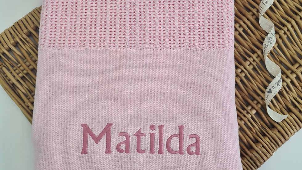 Personalised Pink Cellular Blanket. Newborn Blanket. Personalised Baby Blanket.