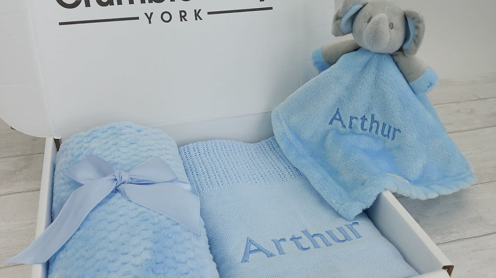 Personalised Baby Gift Set in Blue. Blanket & Comforter Set ideal for New Baby