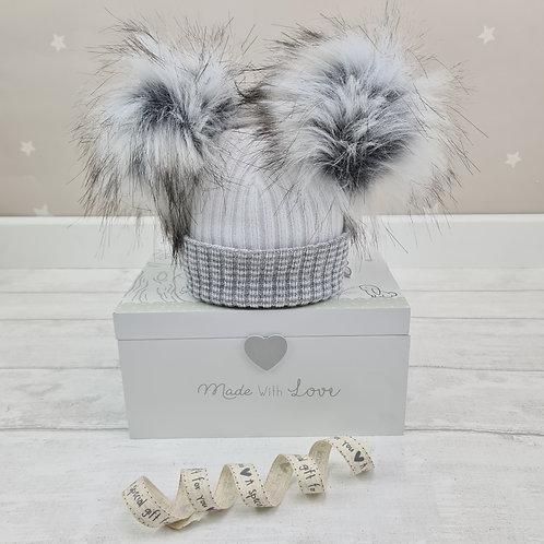 Faux Fur Newborn Baby Pom Pom Hat (Grey)