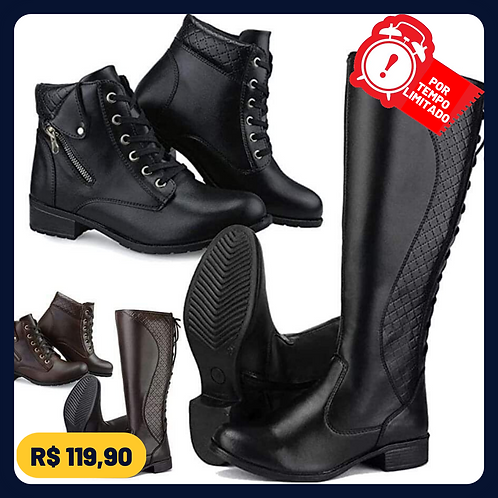 kit 2 pares bota casual neway cano longo e cano curto