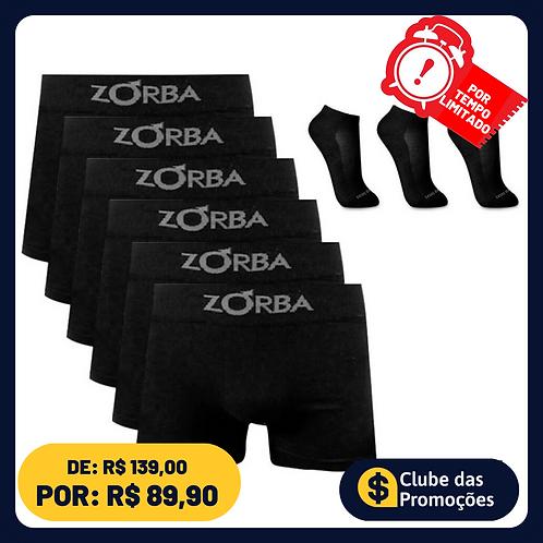 Kit 6 Cuecas Boxer Zorba Algodão Preta + 3 pares meia preta Ted Socks