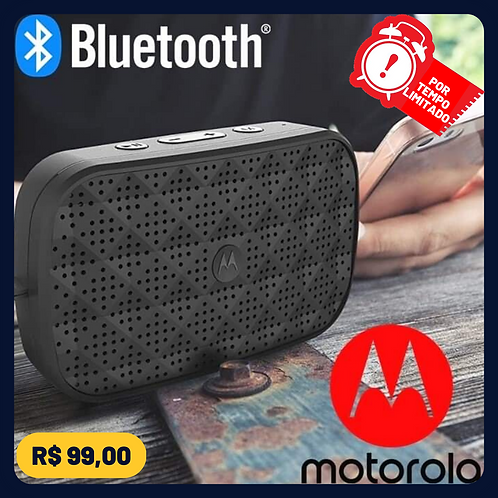 Caixa de Som Motorola Sonic Play 100 Bluetooth, Estéreo, Motorola, SP006, Preto