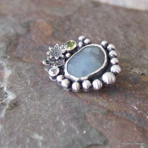 Garden Pond sapphire, peridot and topaz brooch
