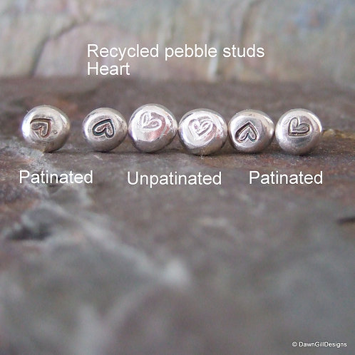 Recycled, stamped 925 sterling silver heart or floral studs