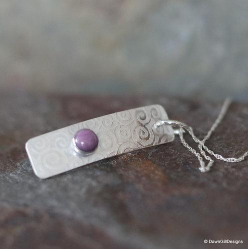 Phosphosiderite textured bar pendant / necklace
