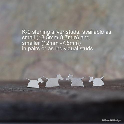 Doctor Doctor. Sterling silver K-9 inspired studs