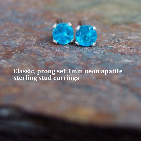 Real, natural, brilliant cut gemstone, prong set, faceted tiny studs
