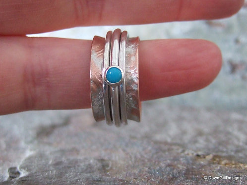 Copper and Turquoise Spinner Ring