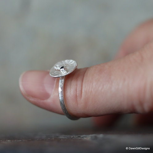 Recycled Moon Landing sapphire stacking ring