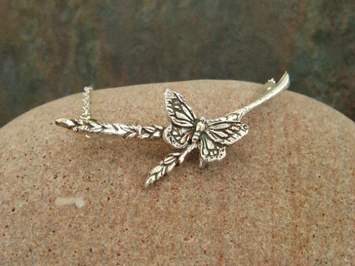 Fine silver butterfly and corn necklace