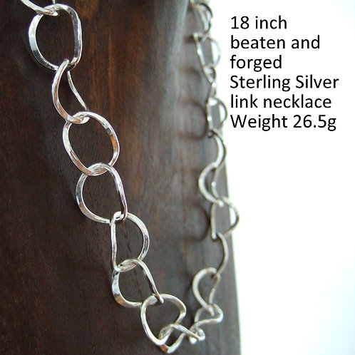 Handcrafted, sterling silver, hallmarked chain necklace