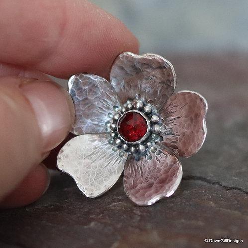 Gemset, sterling silver, dog rose inspired pendant
