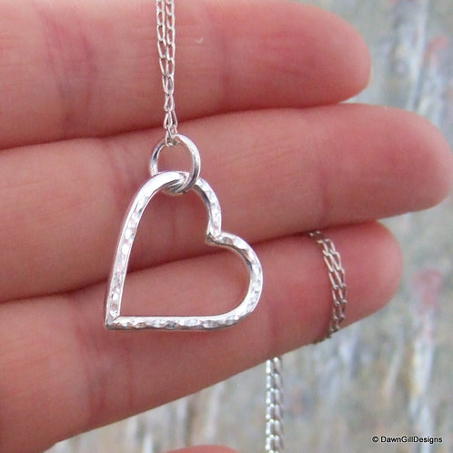 Hollow, hammered heart necklace