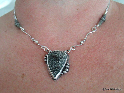 Hallmarked, stone set silver necklace. Fossil coral, sterling silver